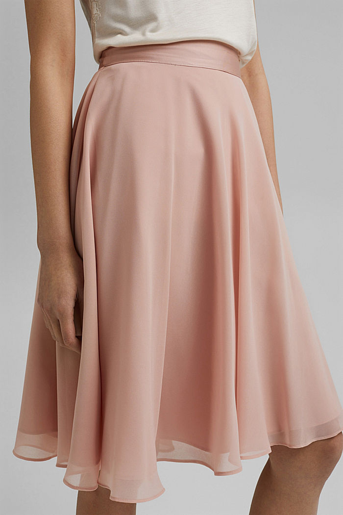 Recycled: Chiffon skirt with a satin waistband, NUDE, detail image number 2