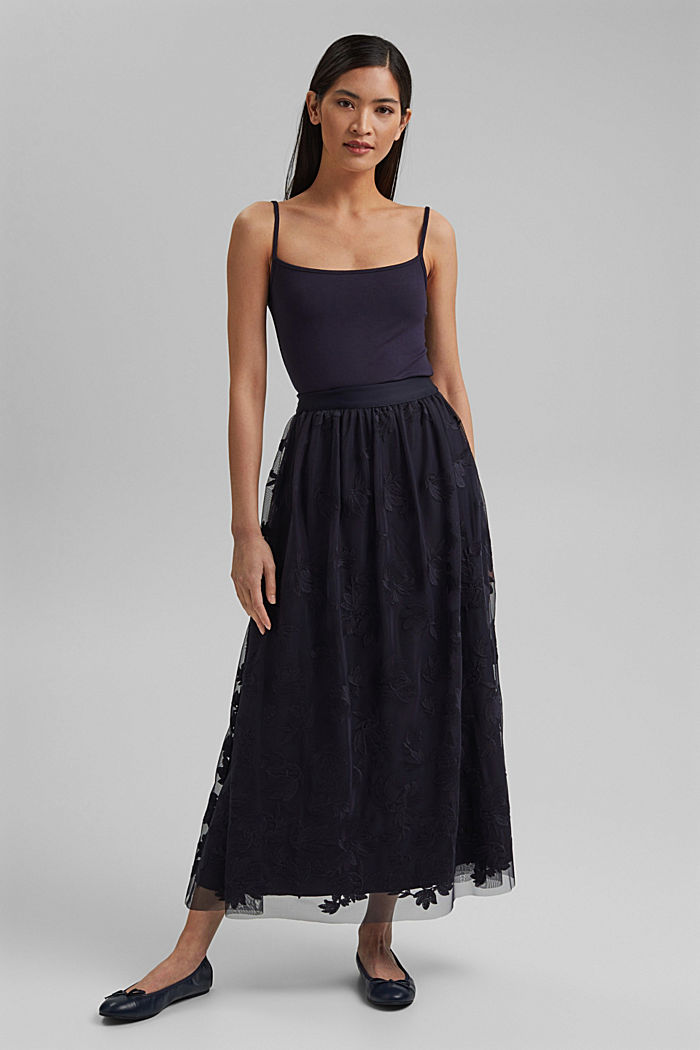 Maxi skirt in embroidered tulle, NAVY, detail image number 0