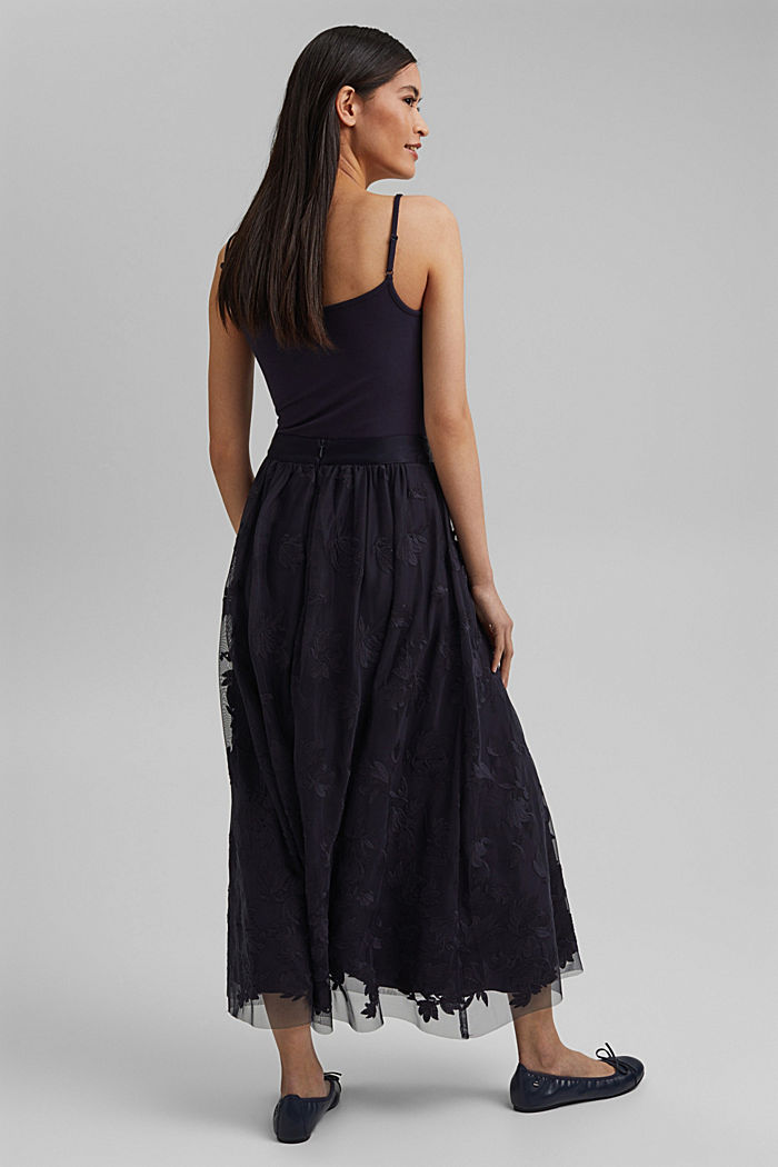 Maxi skirt in embroidered tulle, NAVY, detail image number 3