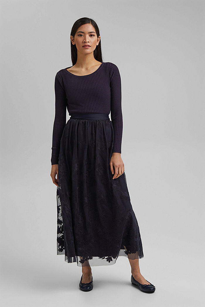 Maxi skirt in embroidered tulle, NAVY, detail image number 1