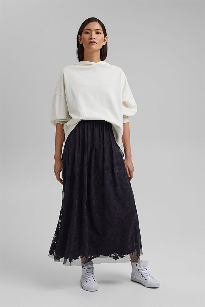 Maxi skirt in embroidered tulle, NAVY, detail image number 5
