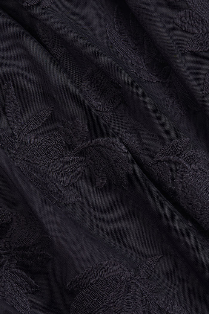 Maxi skirt in embroidered tulle, NAVY, detail image number 4