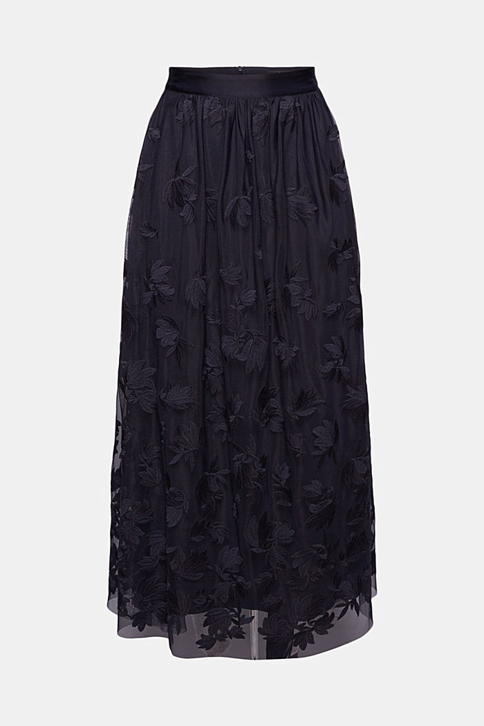Maxi skirt in embroidered tulle, NAVY, detail image number 6