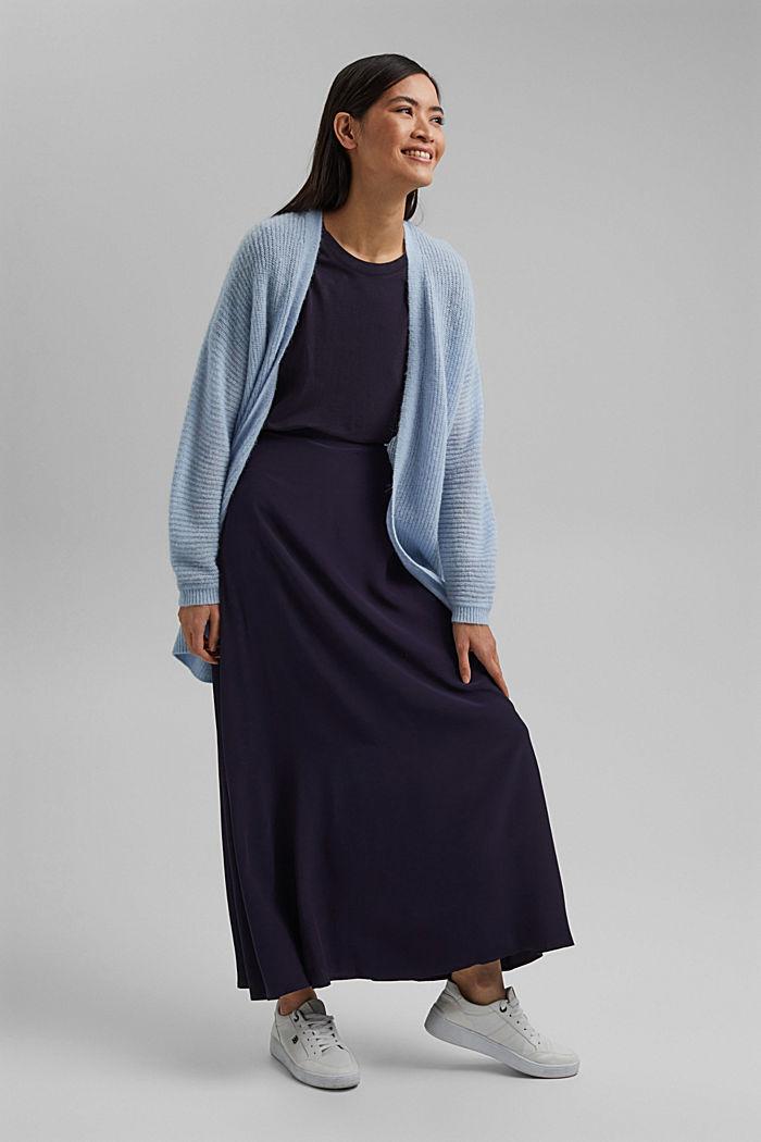 Falda midi en LENZING™ ECOVERO™, NAVY, detail image number 1