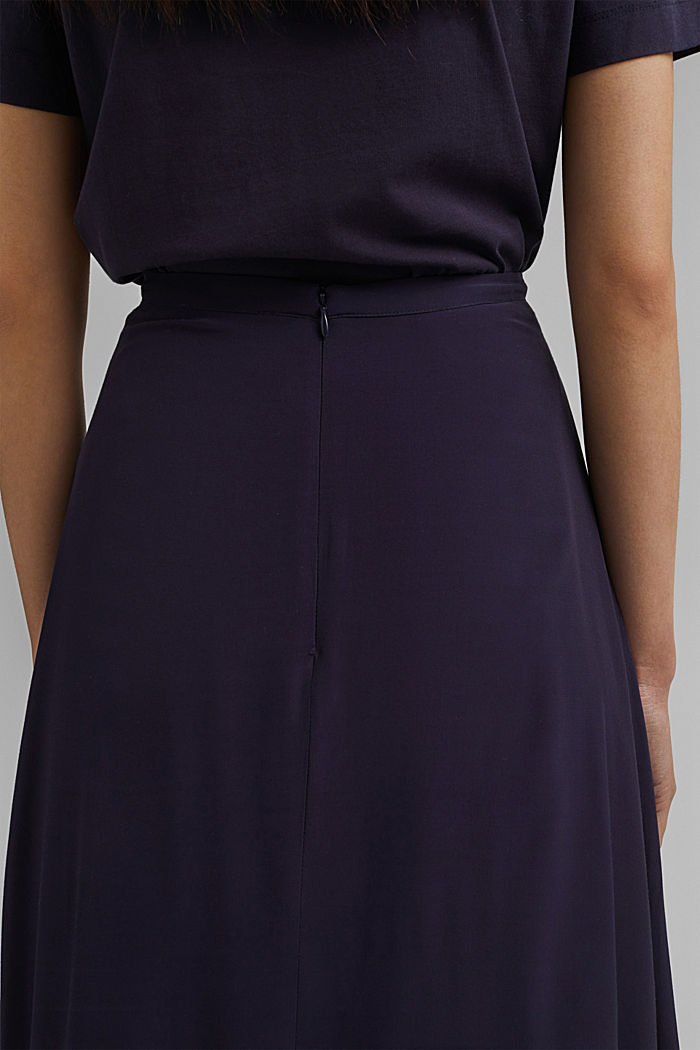 Falda midi en LENZING™ ECOVERO™, NAVY, detail image number 2