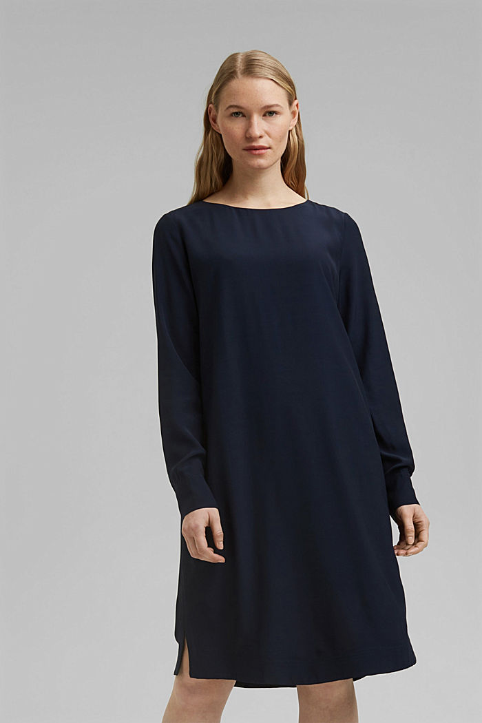 Dress with LENZING™ ECOVERO™, NAVY, detail image number 0