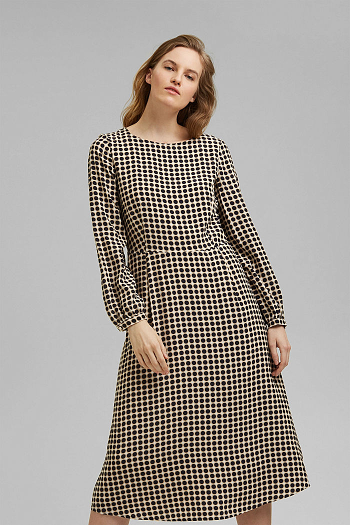 Flared midi dress with a polka dot print, NAVY, detail image number 0