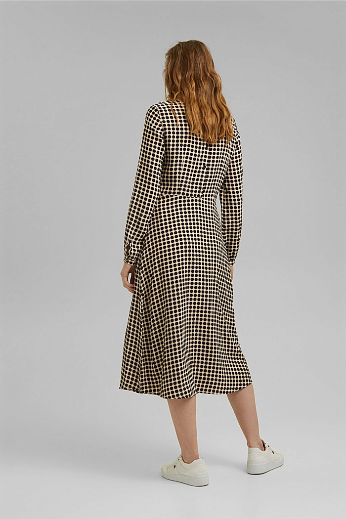 Flared midi dress with a polka dot print, NAVY, detail image number 2