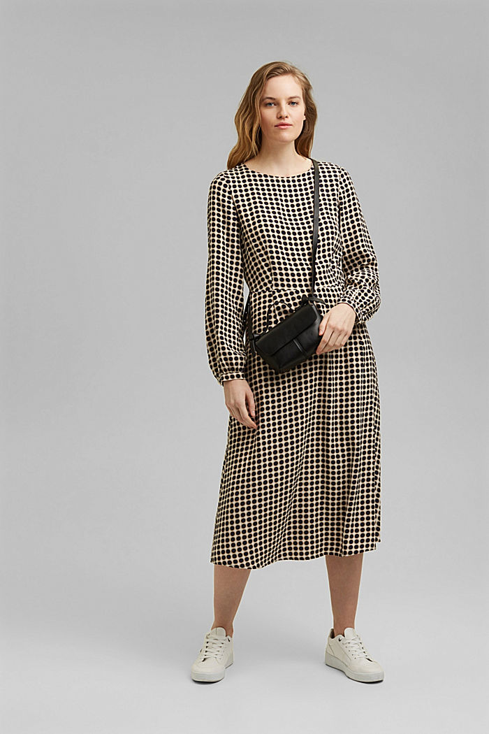 Flared midi dress with a polka dot print, NAVY, detail image number 1