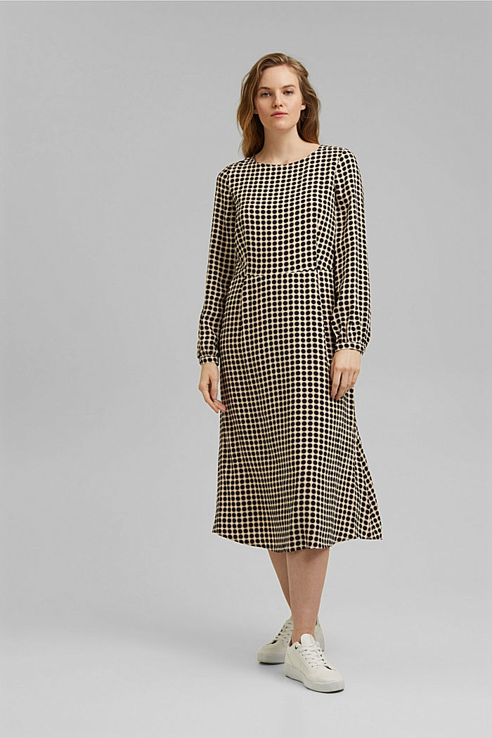 Flared midi dress with a polka dot print, NAVY, detail image number 6