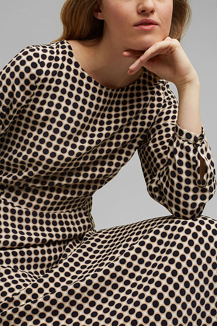 Flared midi dress with a polka dot print, NAVY, detail image number 3
