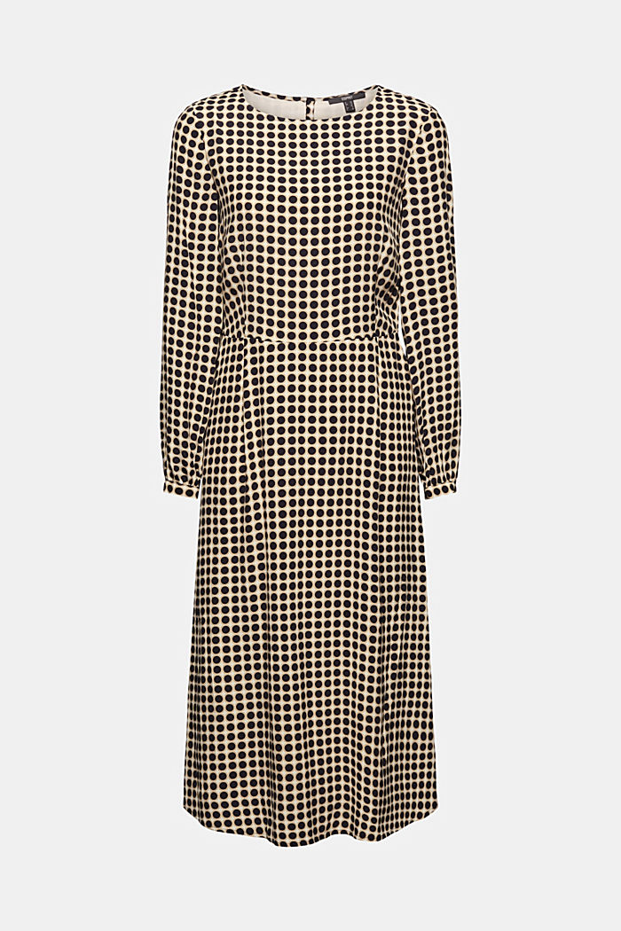 Flared midi dress with a polka dot print