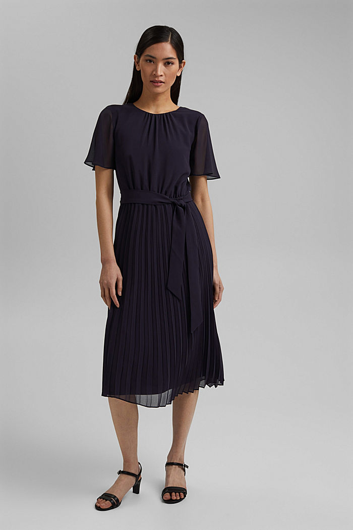 Recycled: pleated chiffon dress, NAVY, detail image number 1