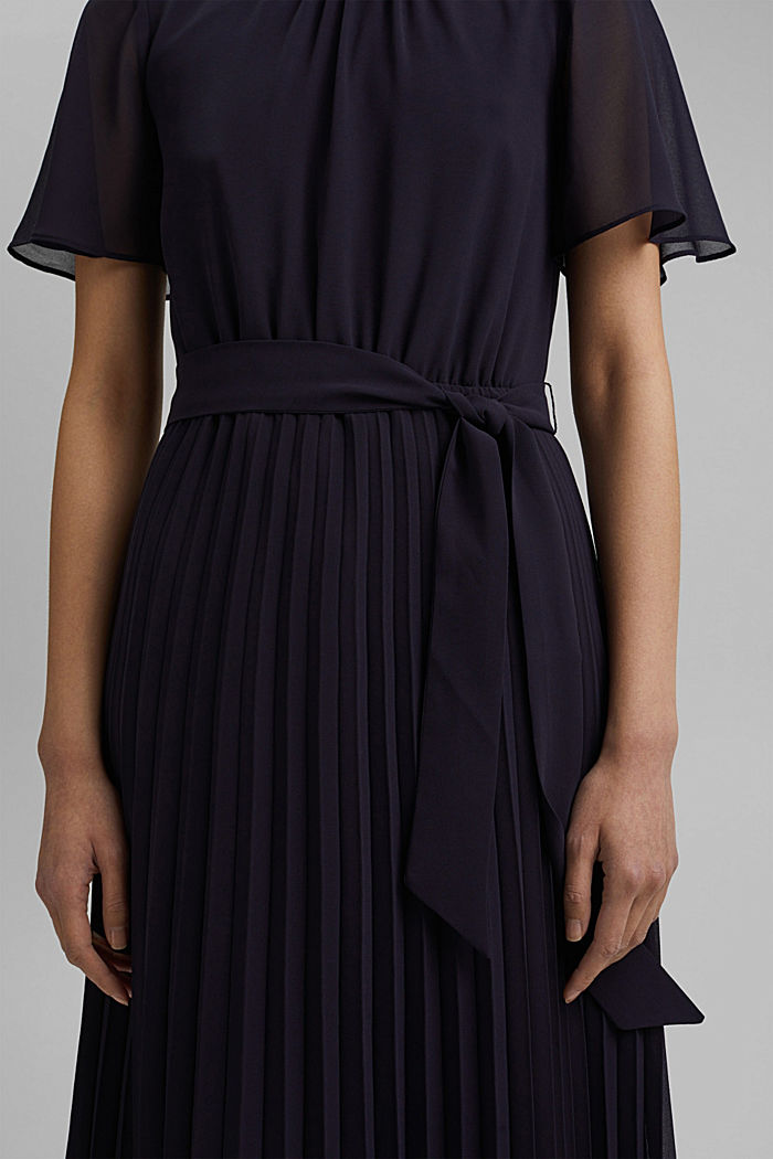 Recycled: pleated chiffon dress, NAVY, detail image number 3