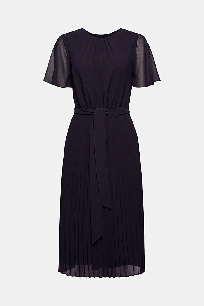 Recycled: pleated chiffon dress, NAVY, detail image number 6