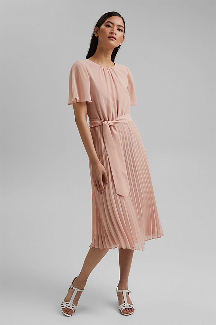 Reciclado: vestido de gasa con falda plisada, NUDE, detail image number 0