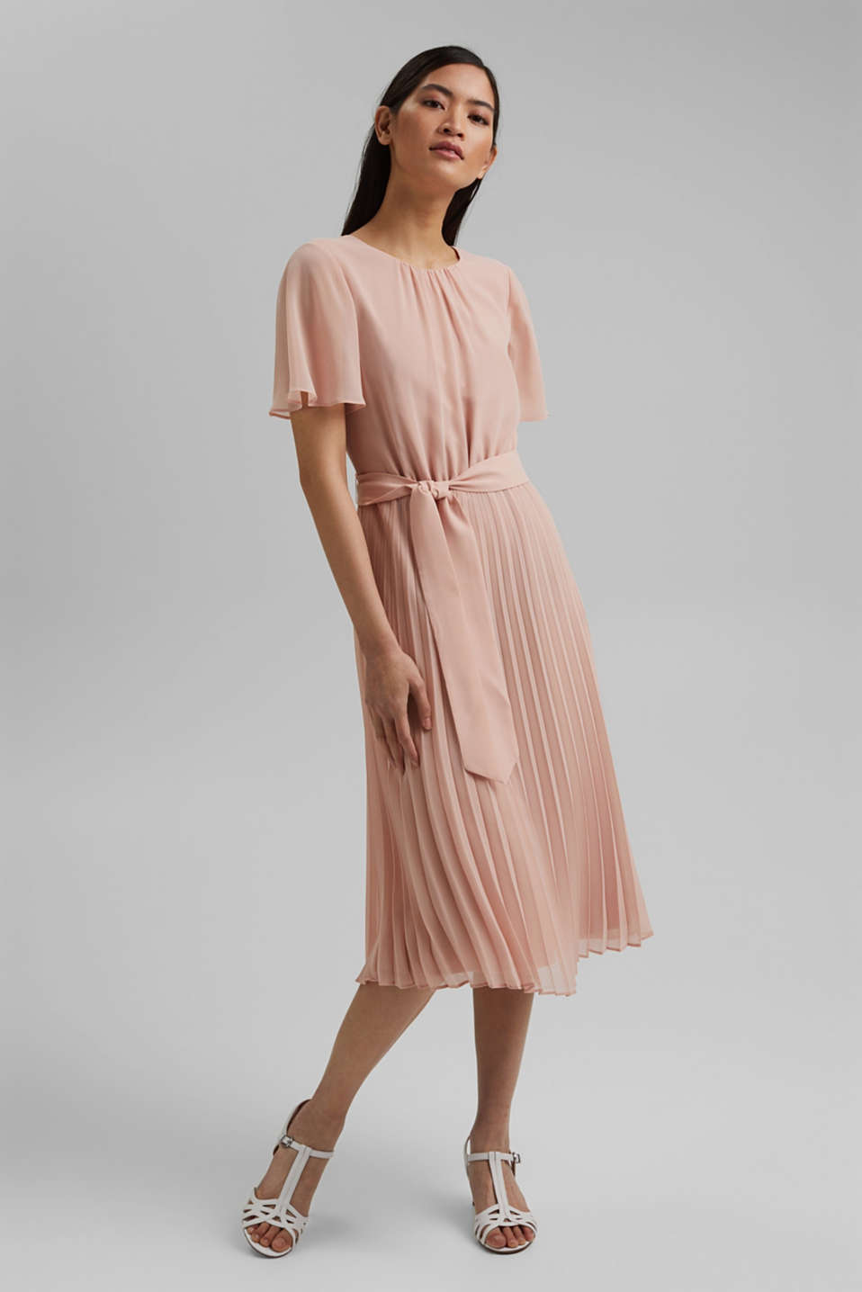 Esprit - Recycled: pleated chiffon dress