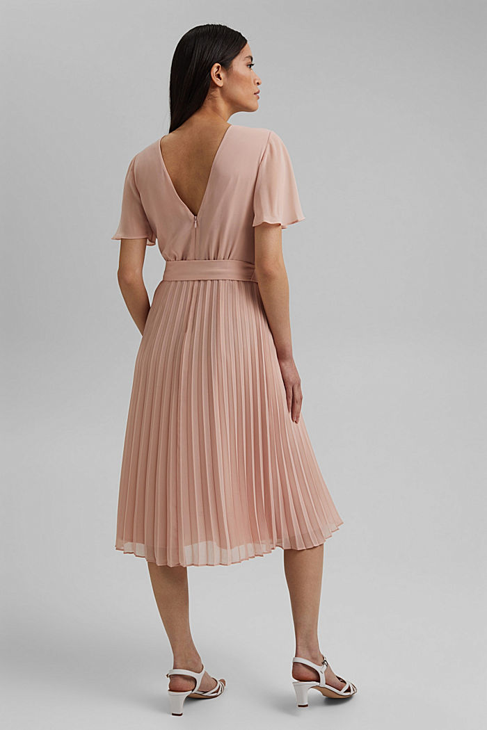 Recycled: pleated chiffon dress, NUDE, detail image number 2