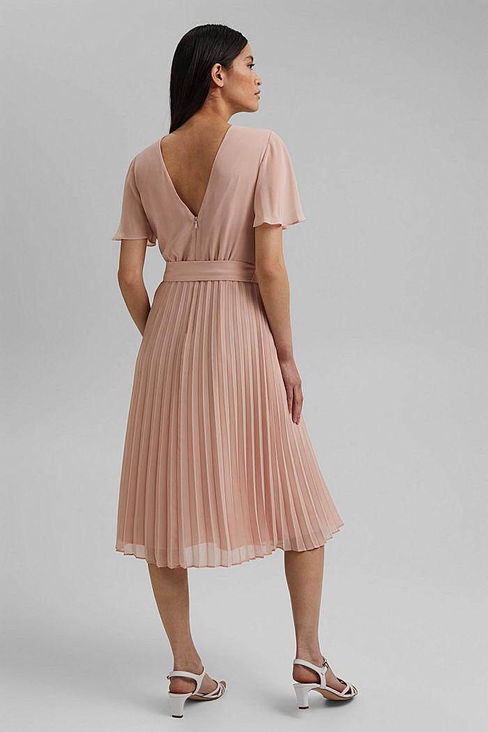 Reciclado: vestido de gasa con falda plisada, NUDE, detail image number 2