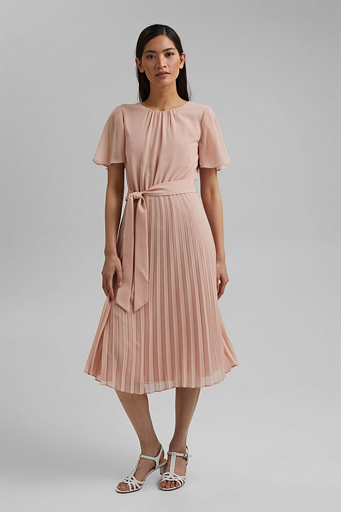 Recycled: pleated chiffon dress, NUDE, detail image number 1