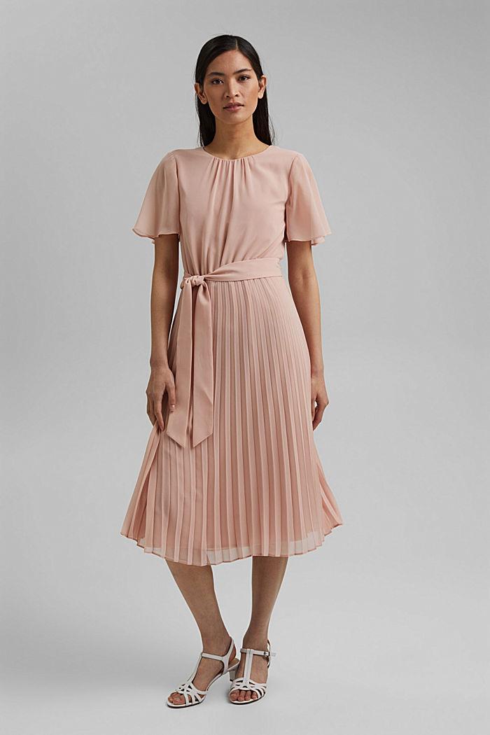 Reciclado: vestido de gasa con falda plisada, NUDE, detail image number 1