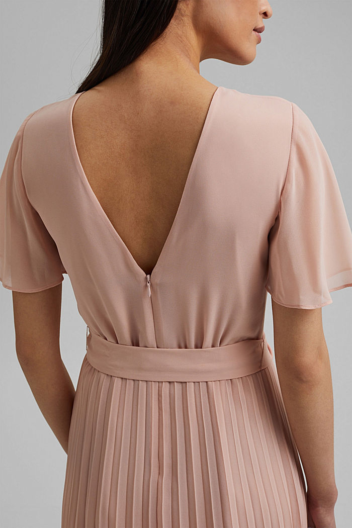 Recycled: pleated chiffon dress, NUDE, detail image number 3