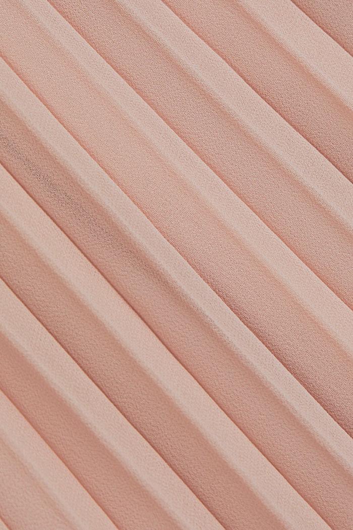 Reciclado: vestido de gasa con falda plisada, NUDE, detail image number 4