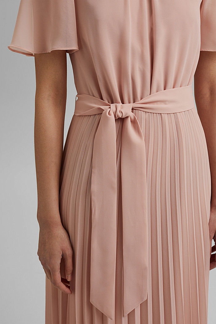 Recycled: pleated chiffon dress, NUDE, detail image number 5