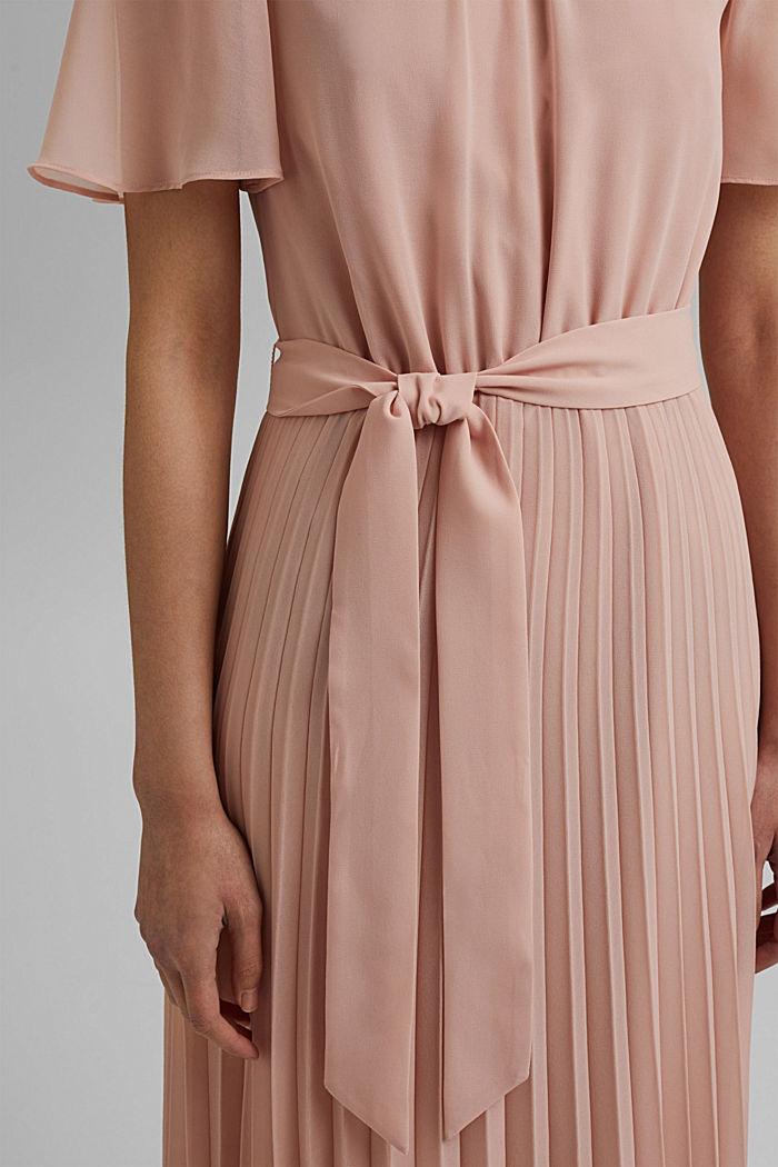 Reciclado: vestido de gasa con falda plisada, NUDE, detail image number 5