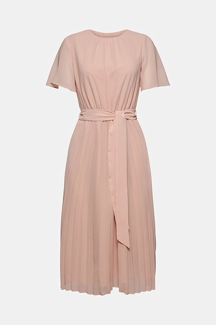 Recycled: pleated chiffon dress, NUDE, detail image number 6