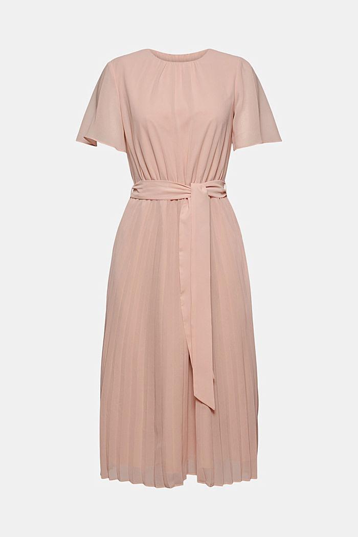 Reciclado: vestido de gasa con falda plisada, NUDE, detail image number 6