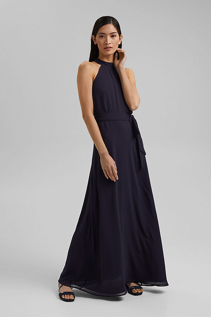 Recycled: chiffon maxi dress, NAVY, detail image number 1