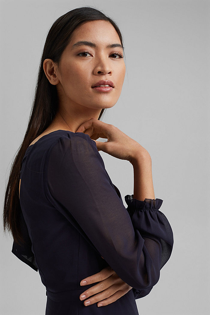 Recycled: Chiffon dress with a back detail, NAVY, detail image number 7