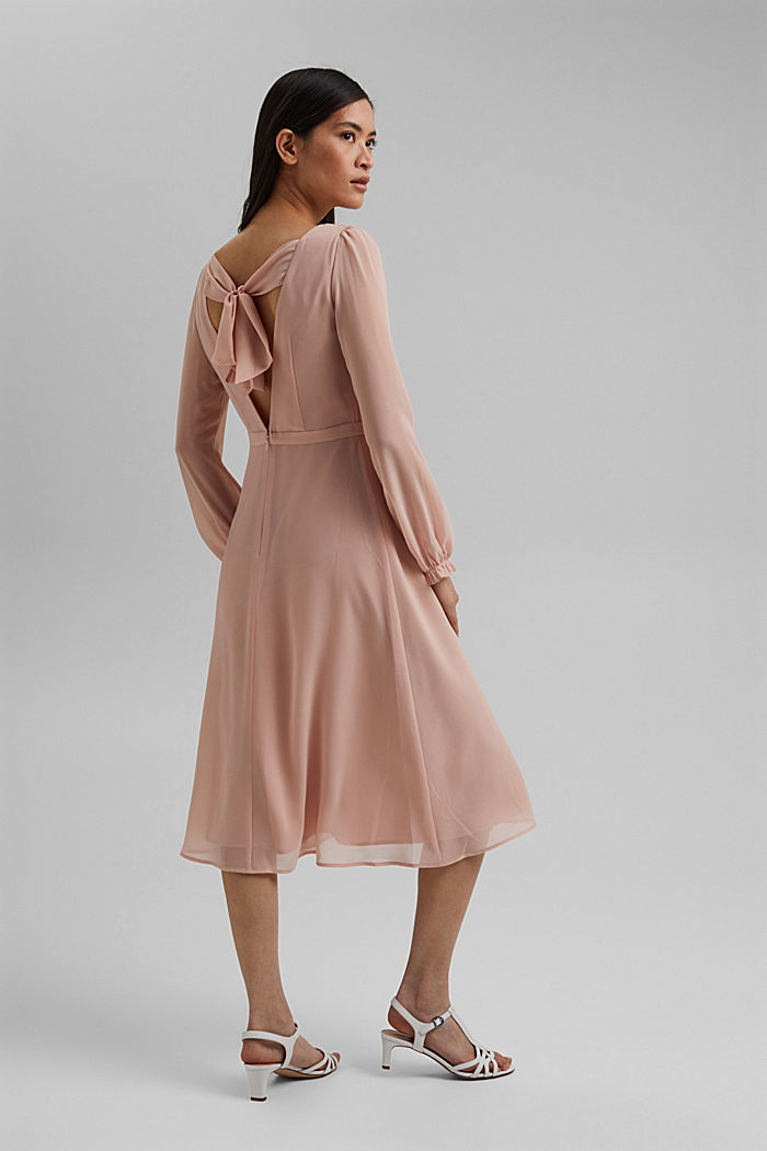Recycled: Chiffon dress with a back detail, NUDE, detail image number 2