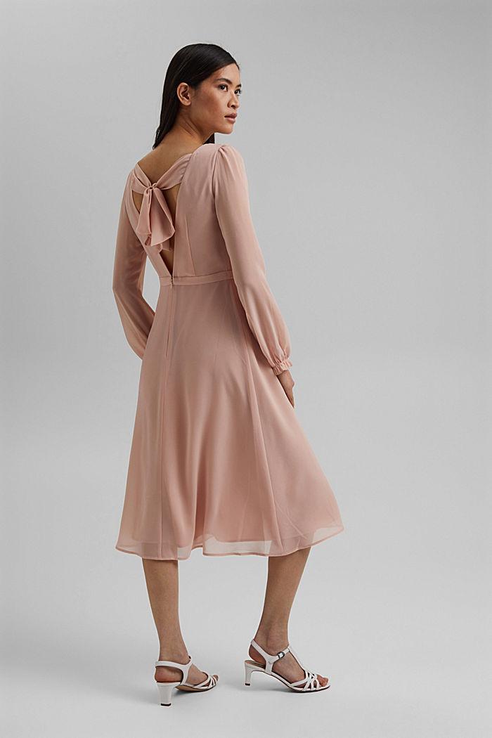 Gerecycled: chiffon jurk met detail aan de achterkant, NUDE, detail image number 2
