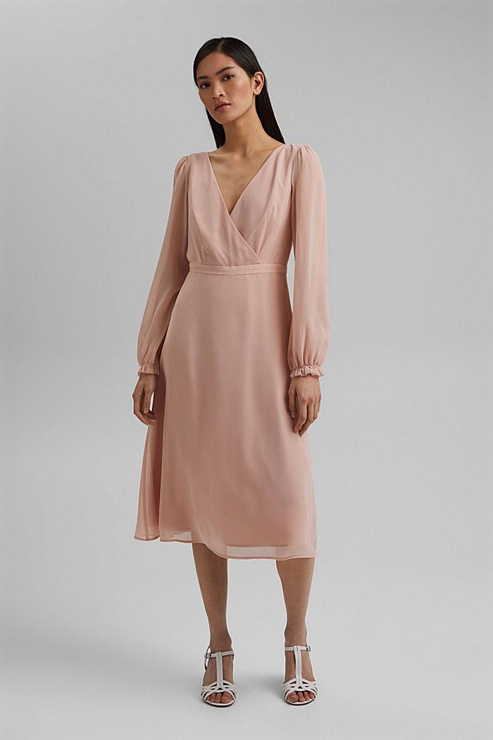 Gerecycled: chiffon jurk met detail aan de achterkant, NUDE, detail image number 1