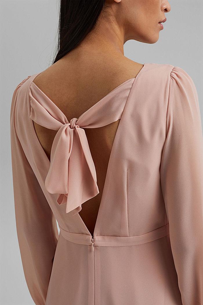 Gerecycled: chiffon jurk met detail aan de achterkant, NUDE, detail image number 3