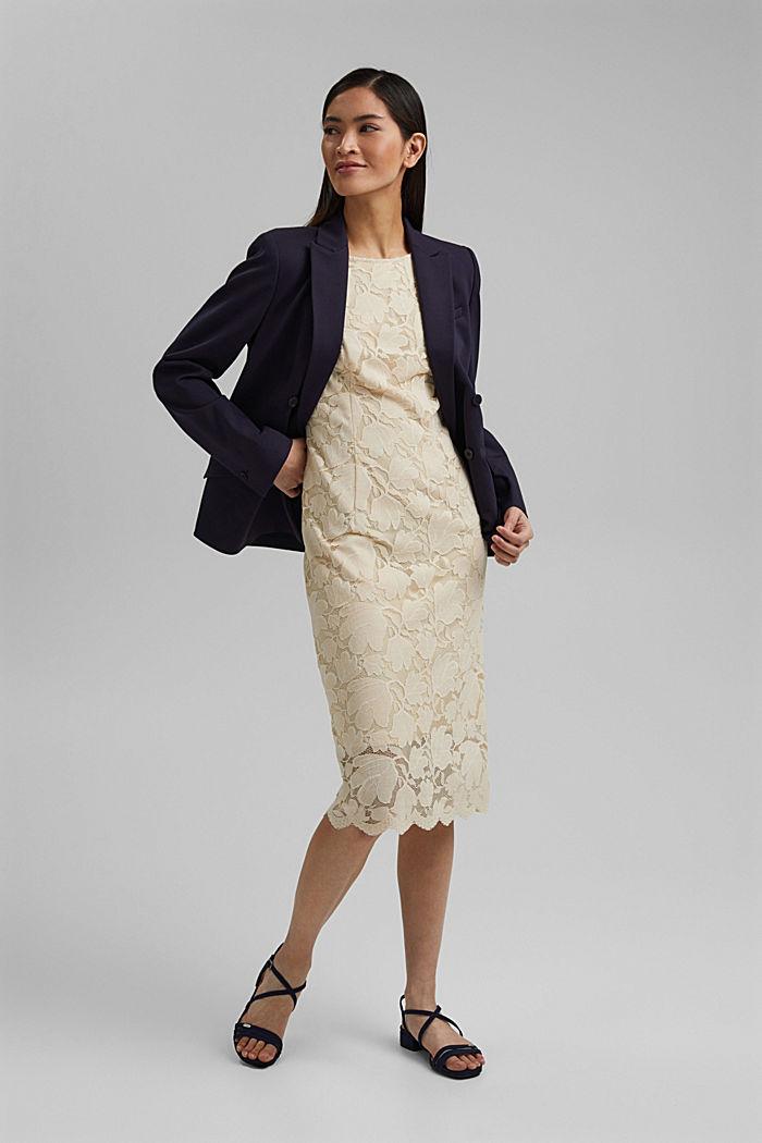 Stretch sheath dress in lace, CREAM BEIGE, detail image number 1