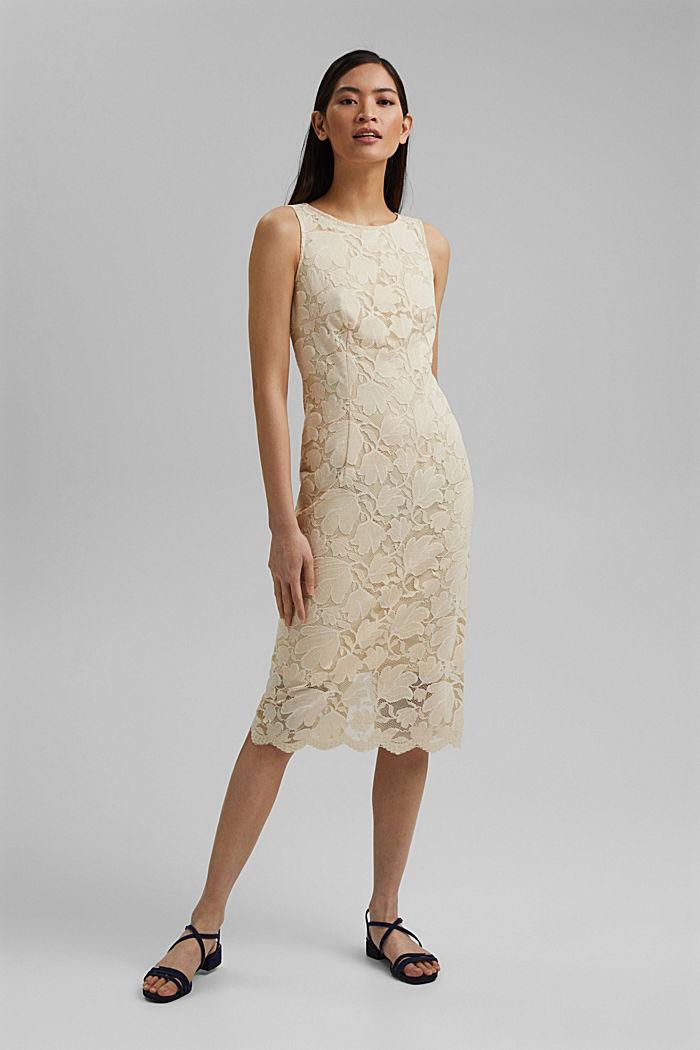 Stretch sheath dress in lace, CREAM BEIGE, detail image number 5