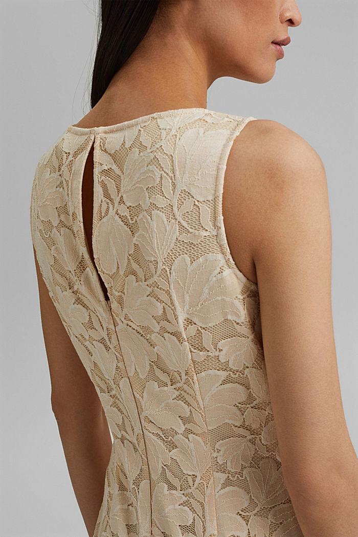 Stretch sheath dress in lace, CREAM BEIGE, detail image number 3