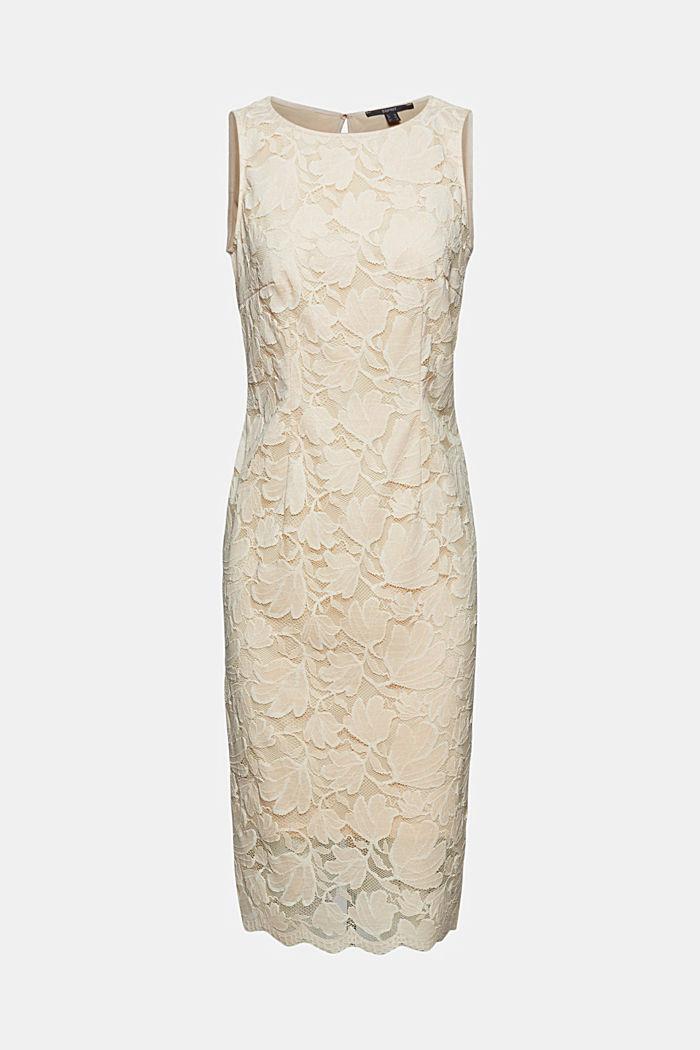Vestido de tubo de encaje elástico, CREAM BEIGE, detail image number 6