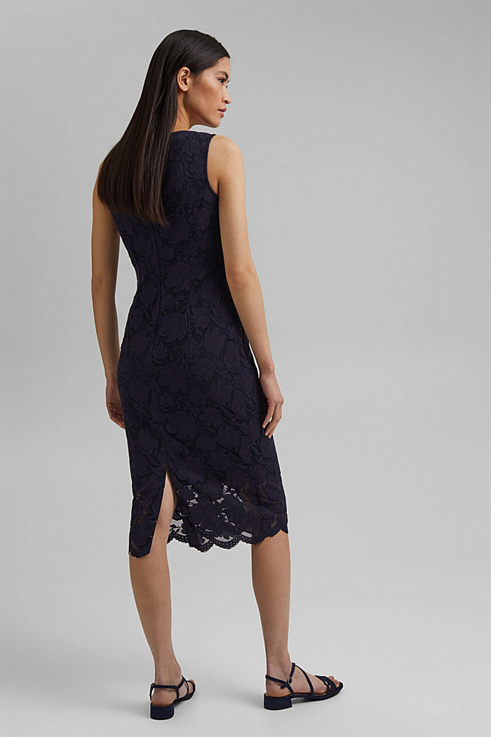 Stretch sheath dress in lace, NAVY, detail image number 2
