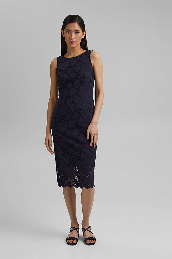 Stretch sheath dress in lace, NAVY, detail image number 1