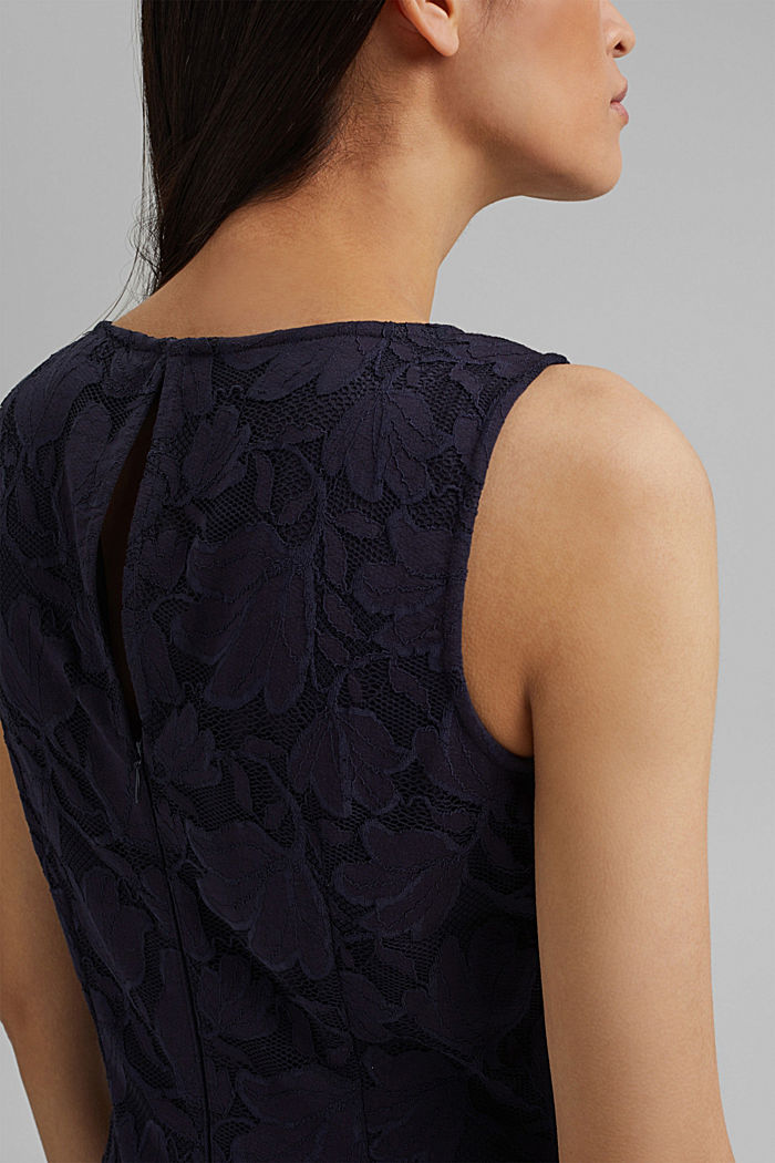 Stretch sheath dress in lace, NAVY, detail image number 3