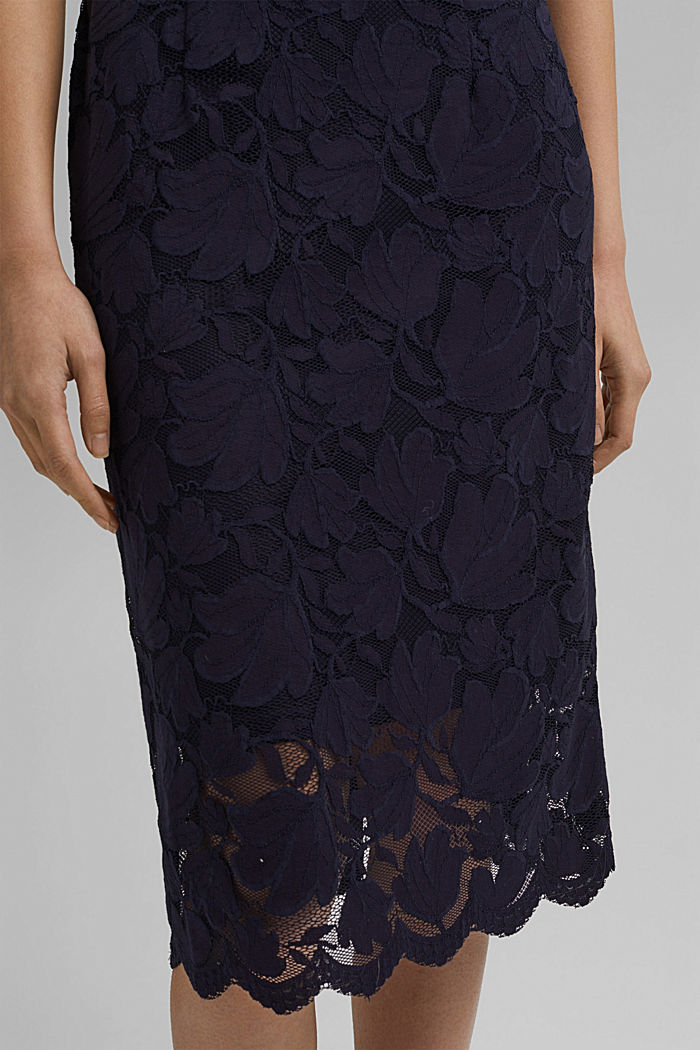 Stretch sheath dress in lace, NAVY, detail image number 5