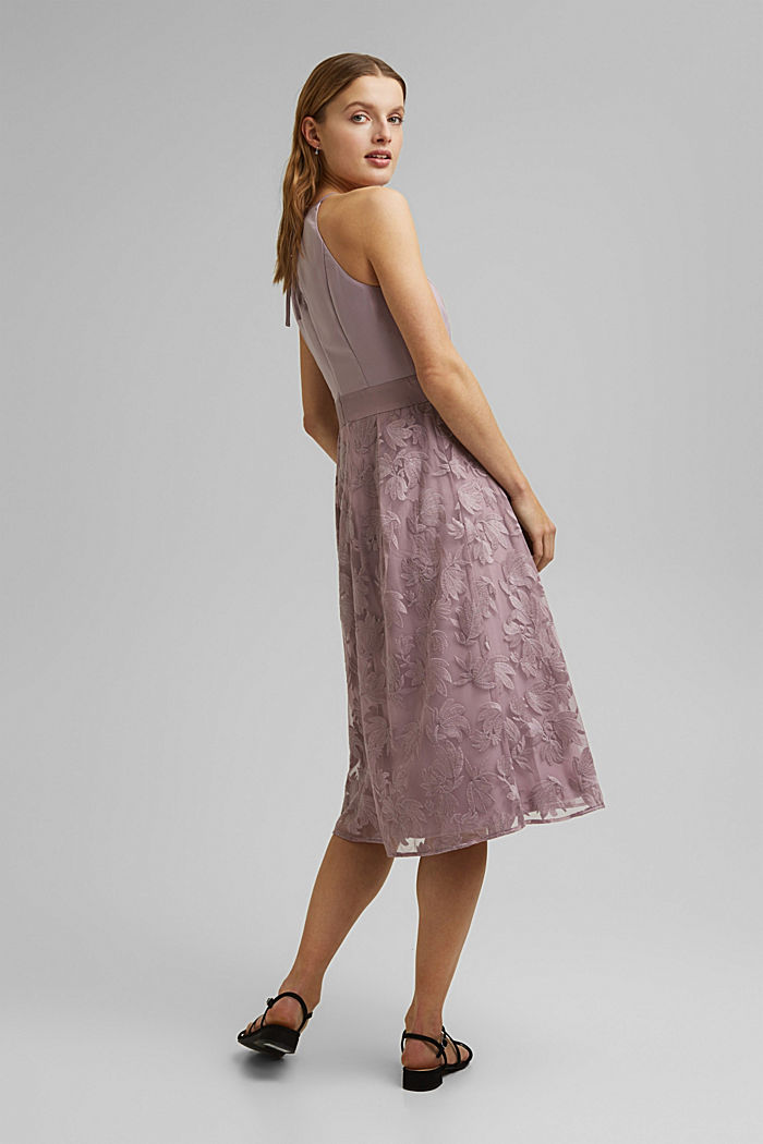 Dress with floral lace embroidery, MAUVE, detail image number 2