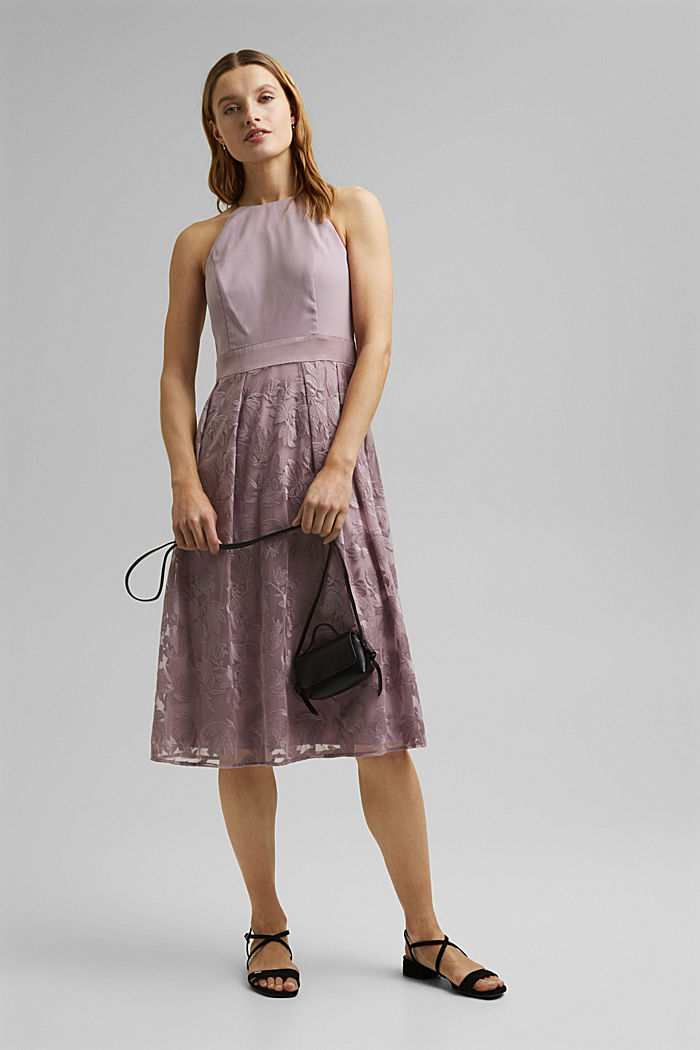 Dress with floral lace embroidery, MAUVE, detail image number 1
