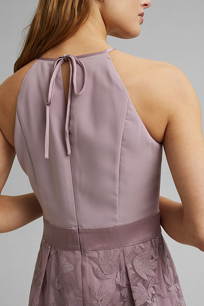 Dress with floral lace embroidery, MAUVE, detail image number 3
