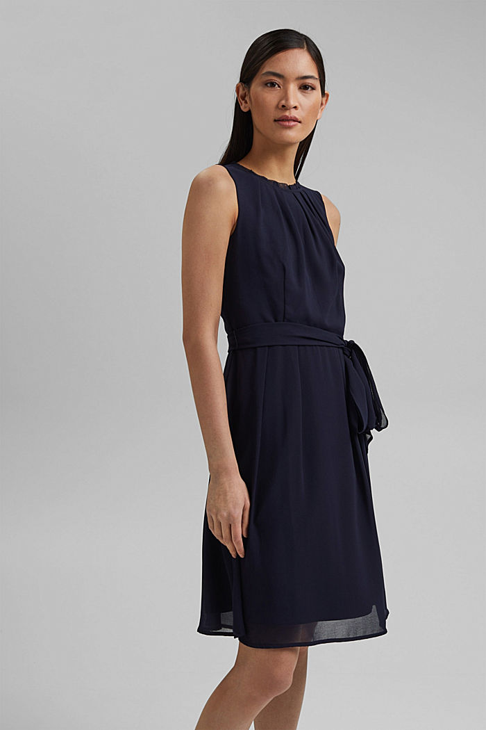 Chiffon dress with a tie-around belt and frills, NAVY, detail image number 0