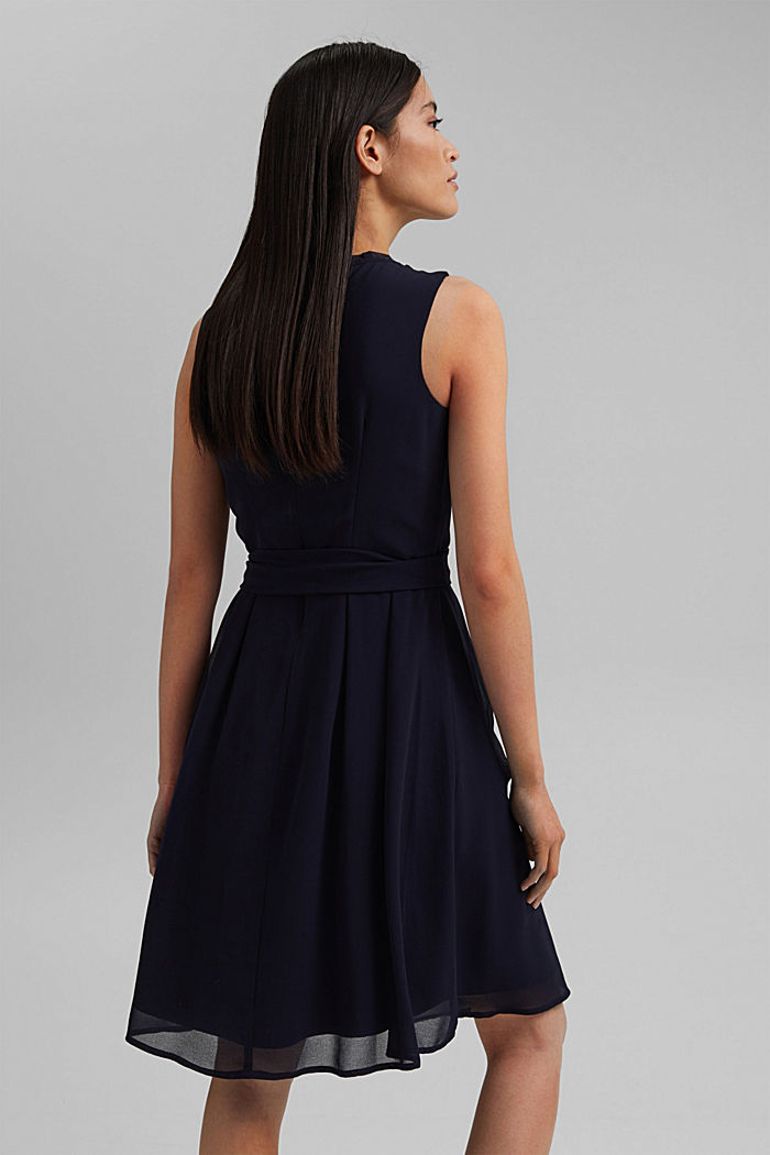 Chiffon dress with a tie-around belt and frills, NAVY, detail image number 2